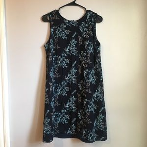 Style & Co Navy Floral Print Sleeveless Dress